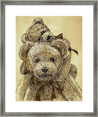Jared's Bears Sepia Framed Print by Linda Simon