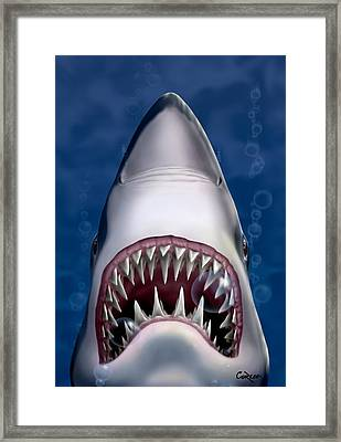 Jaws Great White Shark Art Framed Print by Walt Curlee