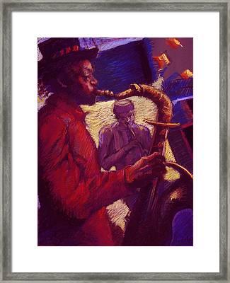 Jazz Duet Framed Print by Ellen Dreibelbis