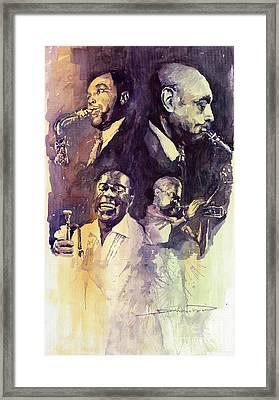 Jazz Legends Parker Gillespie Armstrong  Framed Print by Yuriy  Shevchuk