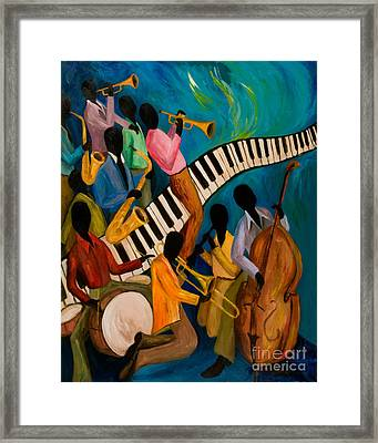 Jazz On Fire Framed Print by Larry Martin