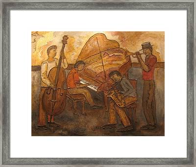 Jazz Quartet Framed Print by Anita Burgermeister