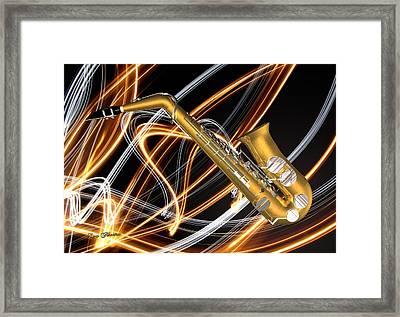 Jazz Saxaphone  Framed Print by Louis Ferreira