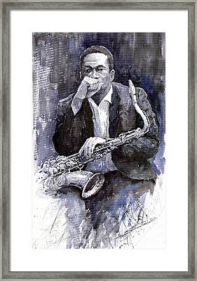Jazz Saxophonist John Coltrane Black Framed Print by Yuriy  Shevchuk