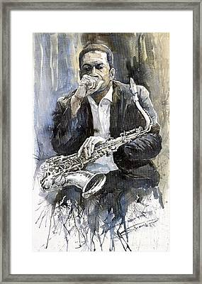 Jazz Saxophonist John Coltrane Yellow Framed Print by Yuriy  Shevchuk