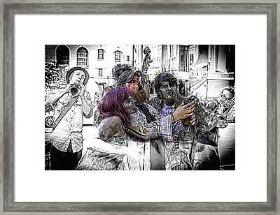 Jazzy Zombie Selfie Framed Print by John Haldane