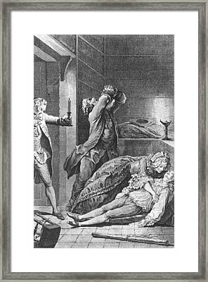 Jean Calas Discovering His Dead Son Framed Print by Charles Joseph Dominique Eisen