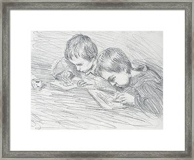 Jean Pierre Hoschede And Michel Monet Framed Print by Claude Monet
