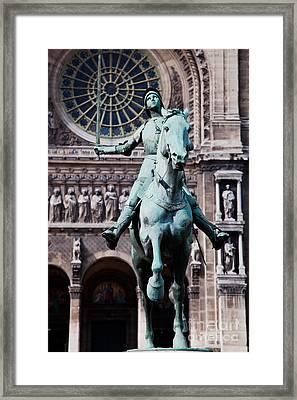 Jeanne D'arc Statue Paris France Framed Print by Michal Bednarek