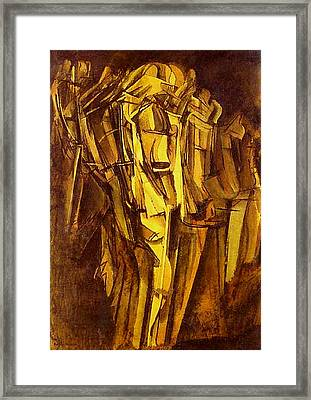Jeanne Homme Triste Dans Un Train  Framed Print by Marcel Duchamp
