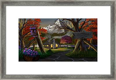 Jeans Cabin Welcome Framed Print by Brien Miller