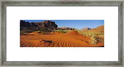 Jebel Qatar From The Valley Floor, Wadi Framed Print by Panoramic Images