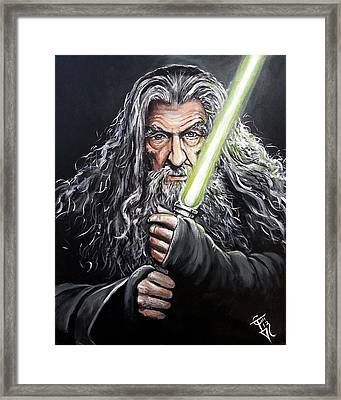 Jedi Master Gandalf Framed Print by Tom Carlton