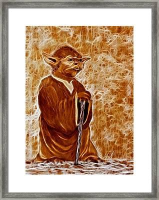 Jedi Master Yoda Digital From Original Coffee Painting Framed Print by Georgeta Blanaru