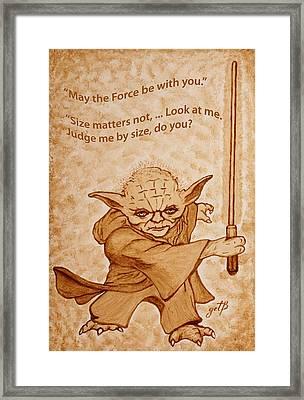 Jedi Yoda Quotes Original Beer Painting Framed Print by Georgeta Blanaru