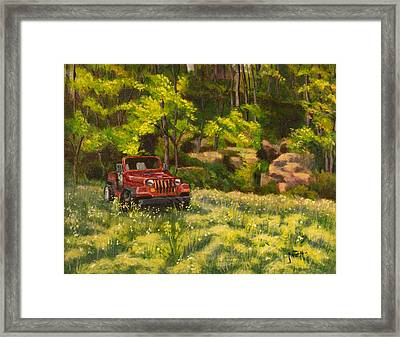 Jeep By The Bluff Framed Print by Janet Felts