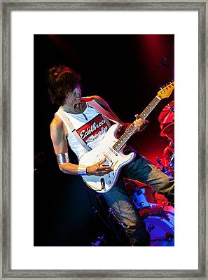 Jeff Beck On Guitar 2 Framed Print by The  Vault - Jennifer Rondinelli Reilly