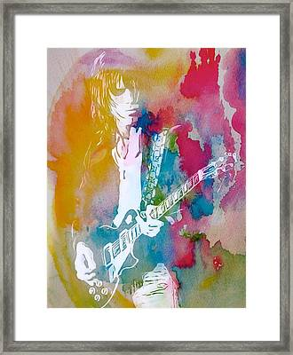 Jeff Beck Watercolor Framed Print by Dan Sproul