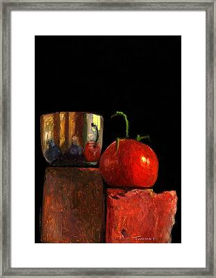 Jefferson Cup With Tomato And Sedona Bricks Framed Print by Catherine Twomey