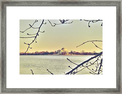 Jefferson Memorial At Dusk Framed Print by Emily Kay