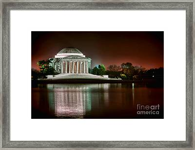 Jefferson Memorial At Night Framed Print by Olivier Le Queinec
