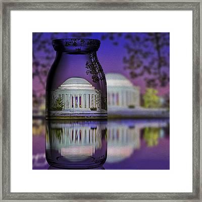 Jefferson Memorial In A Bottle Framed Print by Susan Candelario