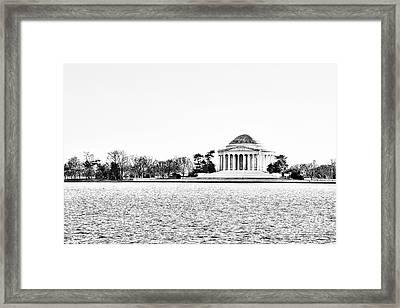 Jefferson Memorial In Bw Framed Print by Emily Kay