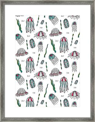 Jellyfish Repeat Print Framed Print by Susan Claire