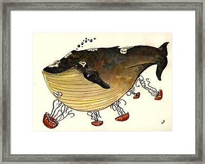 Jellyfish Tickling A Whale Framed Print by Juan  Bosco