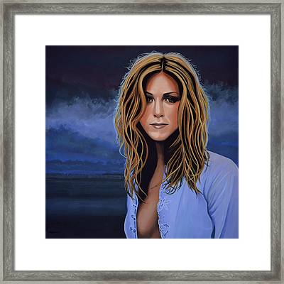 Jennifer Aniston Painting Framed Print by Paul Meijering
