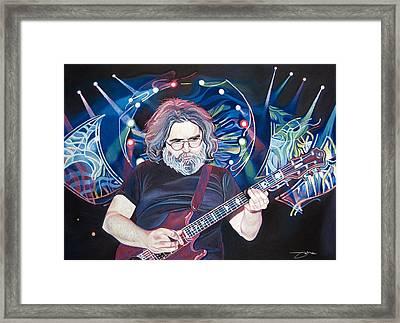 Jerry Garcia And Lights Framed Print by Joshua Morton