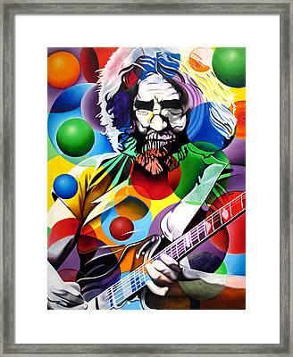 Jerry Garcia In Bubbles Framed Print by Joshua Morton