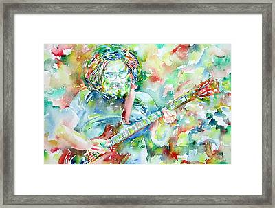 Jerry Garcia Playing The Guitar Watercolor Portrait.3 Framed Print by Fabrizio Cassetta