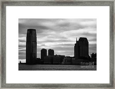 Jersey City New Jersey Waterfront And 10 Exchange Place Silhouette Framed Print by Joe Fox