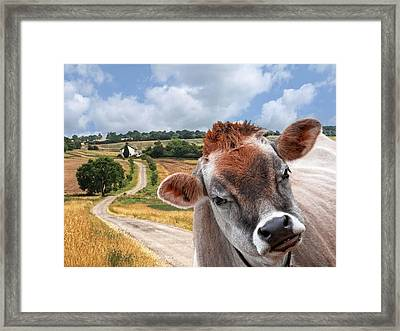 Jersey Cow - Welcome To The Funny Farm Framed Print by Gill Billington