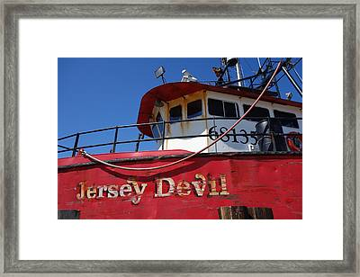 Jersey Devil Clam Boat Framed Print by Joan Reese