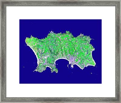 Jersey Framed Print by Nasa/gsfc/meti/ersdac/jaros, And U.s./japan Aster Science Team