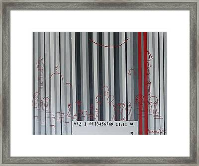 Jerusalem Black And Withe Barcode Framed Print by Hanna Fluk