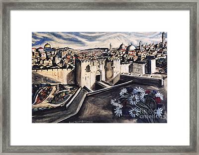 Jerusalem From The Damascus Gate Framed Print by Yael Avi-Yonah
