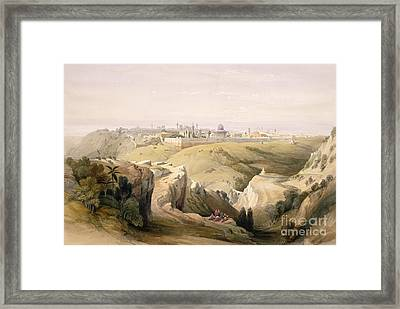 Jerusalem From The Mount Of Olives Framed Print by David Roberts