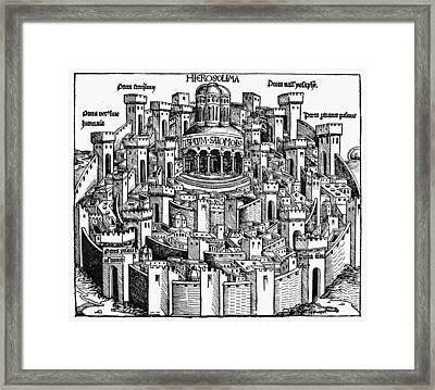 Jerusalem Temple, 1493 Framed Print by Granger
