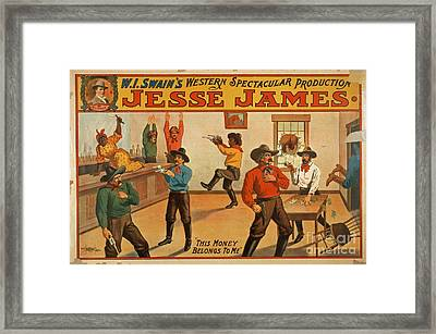Jesse James Spectacular Production Poster Framed Print by Edward Fielding