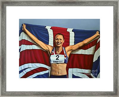 Jessica Ennis Framed Print by Paul Meijering