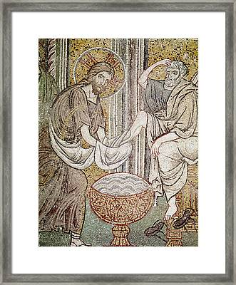 Jesus And Saint Peter, Detail From Jesus Washing The Feet Of The Apostle Mosaic Framed Print by Byzantine School