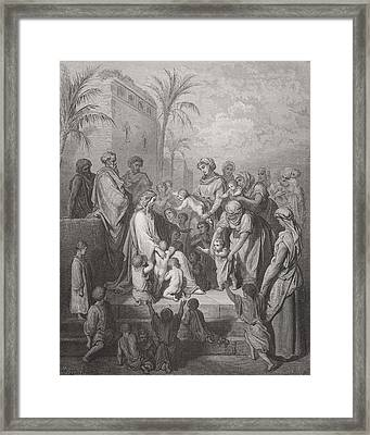 Jesus Blessing The Children Framed Print by Gustave Dore