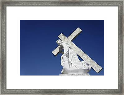 Jesus Carrying A Cross Framed Print by Aged Pixel