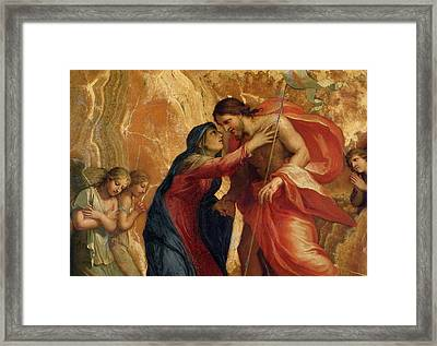Jesus Christ Receiving The Virgin In Heaven Framed Print by Jacques Stella