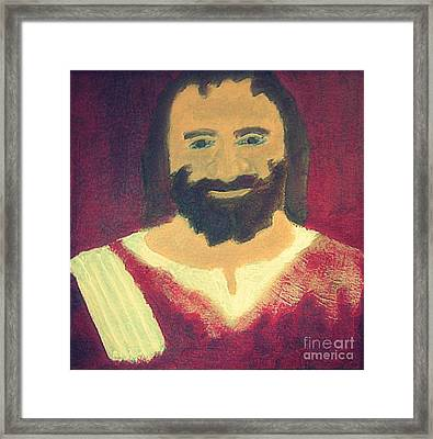 Jesus Christ Smiling 1 Framed Print by Richard W Linford