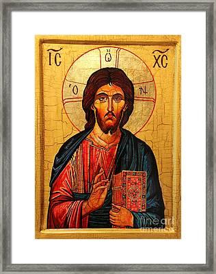 Jesus Christ The Pantocrator Icon Framed Print by Ryszard Sleczka