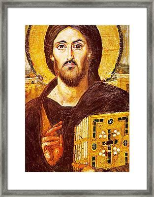 Jesus Icon At Saint Catherine Monastery Framed Print by Munir Alawi